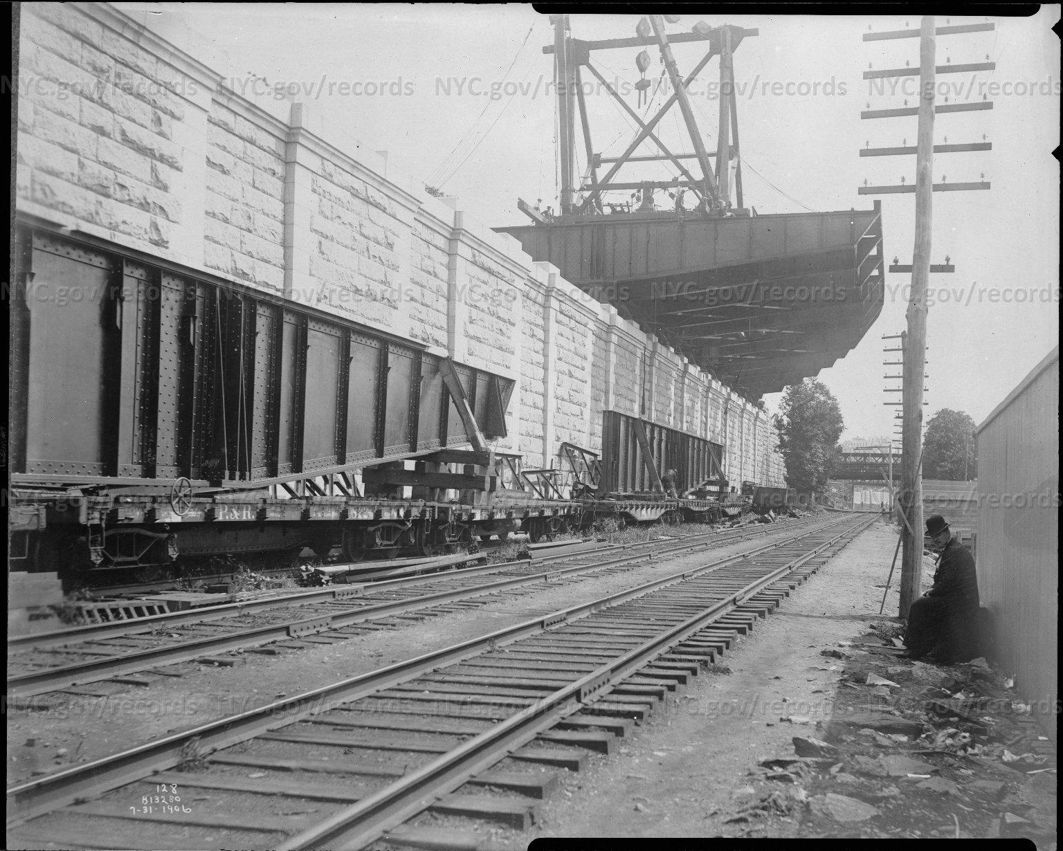 Wall, Railroad Tracks, Crain