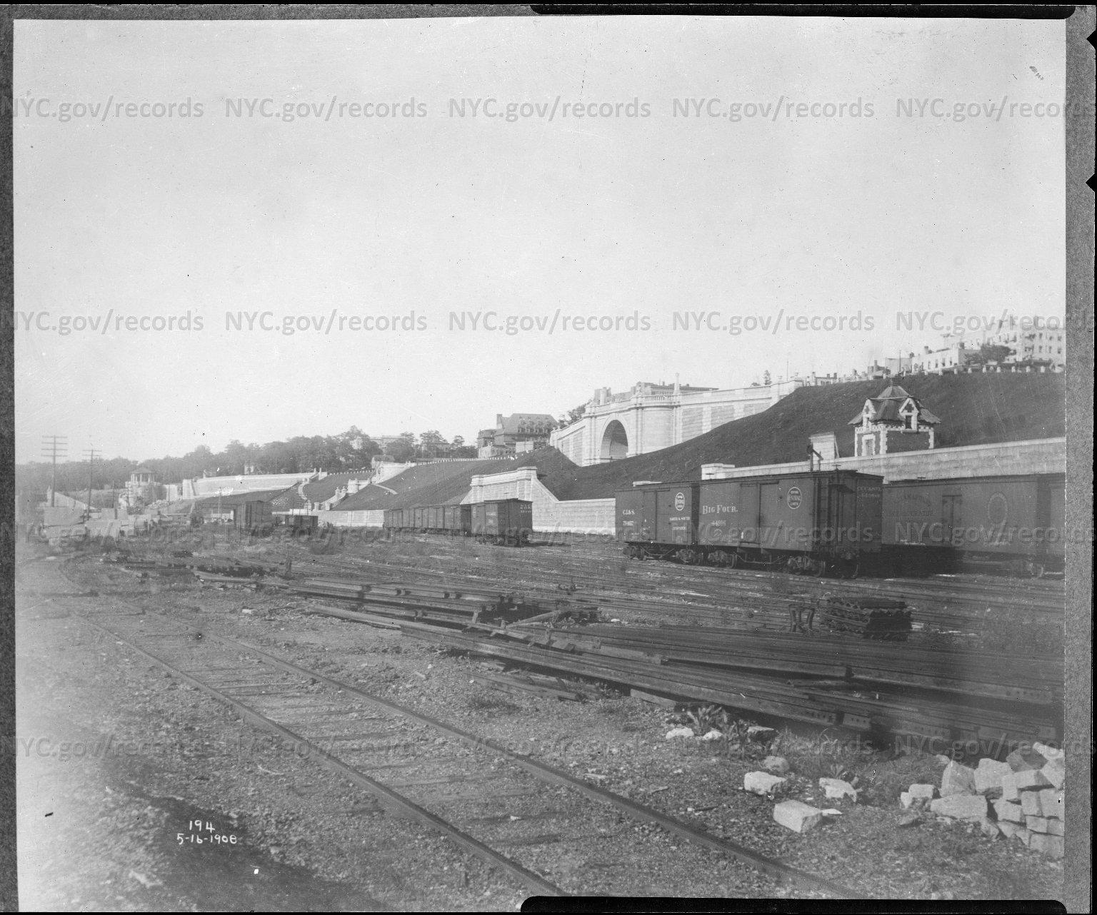 Looking northeast from Railroad tracks toward Riverside drive Arch